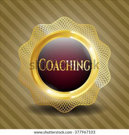 Coaching golden badge or emblem