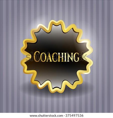 Coaching golden emblem or badge