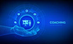 Coaching icon in robotic hand. Coaching and mentoring concept on virtual screen. Personal development. Education and e-learning. Webinar, online training courses. Vector illustration.