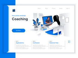 Coaching isometric landing page. Woman watching online webinar with business coach in office situation. Business education and skills development, motivation and mentoring perspective flat design.