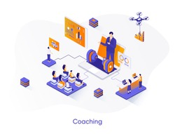 Coaching isometric web banner. Business motivation and mentoring isometry concept. Online coaching conference 3d scene, professional training flat design. Vector illustration with people characters.