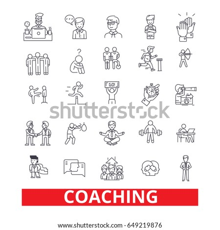 Coaching, sport coach, mentor, coach bus, life coach, training, trainer, whistle line icons. Editable strokes. Flat design vector illustration symbol concept. Linear signs isolated on white background
