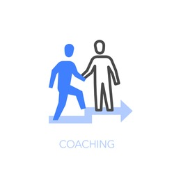 Coaching symbol with two people, one helping the other on the stairs. Easy to use for your website or presentation.