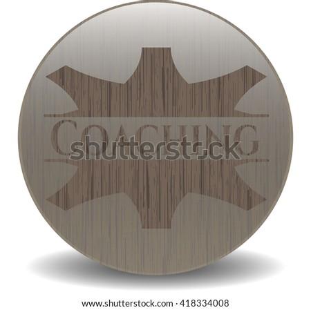 Coaching wooden emblem. Retro