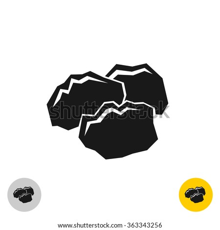 coal black rocks icon three