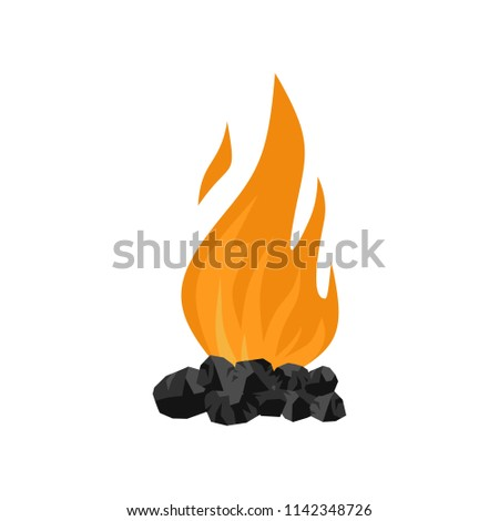 Coal fire icon. Flat illustration of coal fire vector icon for web isolated on white
