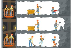 Coal industry, mine with many levels, workers, lift and appliances. Miners working in a mine