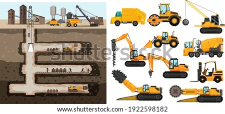 Coal mining scene with different types of construction trucks illustration Stockfoto ©