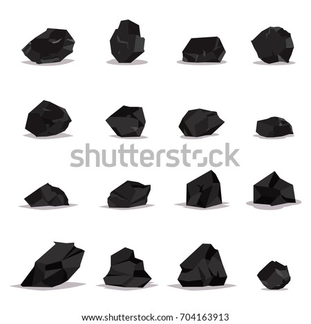 coal vector cartoon set of flat