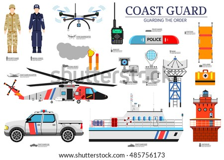 coast guard day flat icoms set