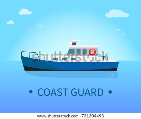 Coast guard ship in blue waters at sunny day vector illustration isolated on white. Nautical marine boat for expedition sure bank
