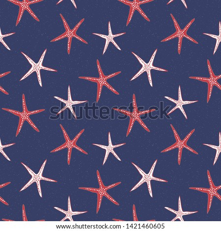 Coastal Americana starfish seamless pattern in traditional red, white and blue colors. Modern and fun, great for beach house decor, fashion, textiles and promoting 4th of July parades and events.