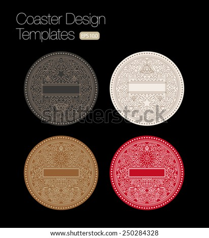 Coaster design template set label design stock vector for Coaster size template