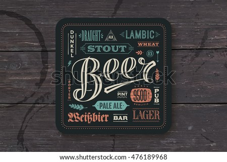 Coaster for beer with hand drawn lettering. Colorful vintage drawing for bar, pub and beer themes. Vector Illustration