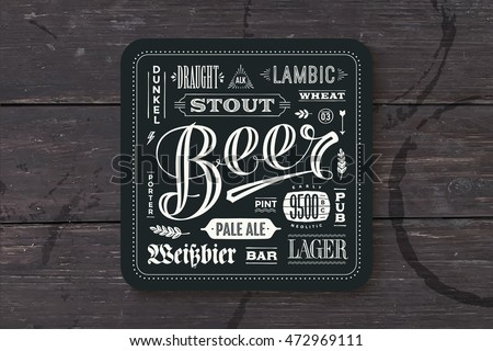Coaster for beer with hand drawn lettering. Vintage drawing for bar, pub and beer theme. Black square for placing a beer mug or a beer bottle over it with lettering for beer theme. Vector Illustration