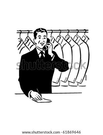 Coat Check Clerk - Retro Clip Art