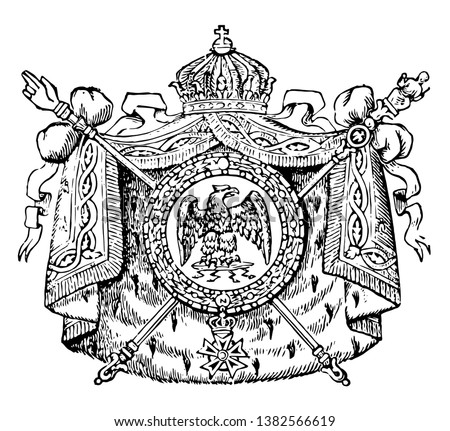 Coat of Arms, France, this seal has eagle with wide wings in the center of circle, it has mantle around circle and two crossed scepters behind the shield, and crown on top of shield, vintage