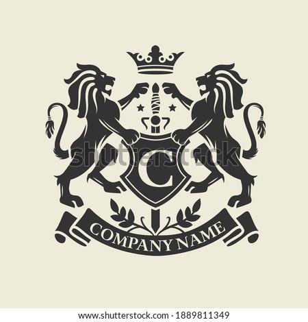 Coat of Arms, Lion Crest design ストックフォト ©