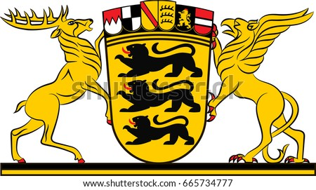 "Coat of arms of Baden-Wuerttemberg is a state in Germany located in the southwest, east of the Upper Rhine. Vector illustration from ""Heraldry of the World"" OIga Bortnik, Ivan Rezko, 2008"