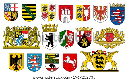 Coat of arms of German states heraldic icons of vector German heraldry. German federal state emblems with flags, lion, bear and deer, eagle, horse, crown and griffin, castle tower and key on shields ストックフォト ©