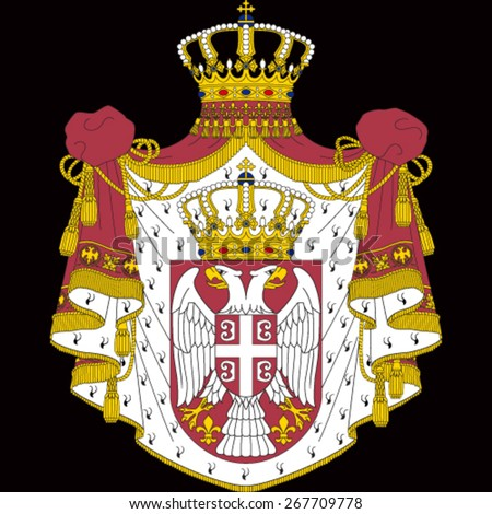 coat of arms of serbia on black