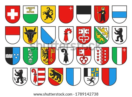 Coat of arms of Switzerland and Swiss cantons, vector heraldry. Heraldic shields with emblems of Zurich, Bern, Lucerne and Geneva, Uri, Schwyz, Obwalden and Nidwalden, Glarus, Zug and Fribourg Сток-фото ©
