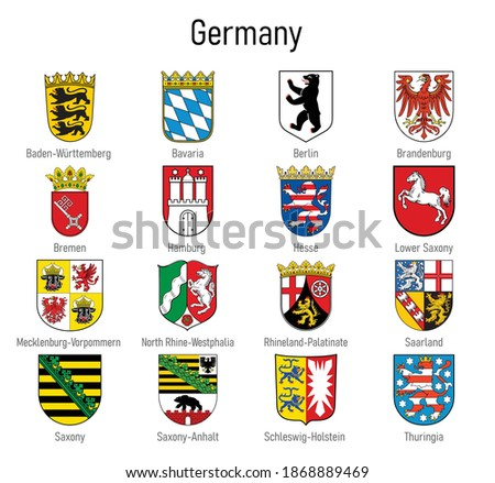 Coat of arms of the states of Germany, All German regions emblem collection Stockfoto ©