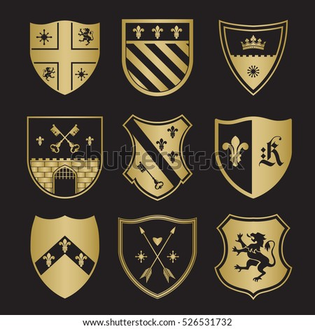 Coat of arms silhouettes for signs and symbols (safety, security, military, medieval). Based on and inspired by old heraldry. Сток-фото ©