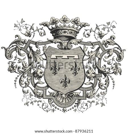 """Coat of arms -Vintage engraved illustration - """"Les Français"""" by L.Curmer in 1842 France"""