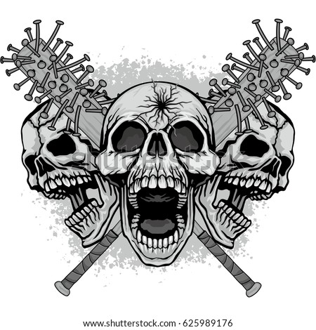 coat of arms with skull  grunge