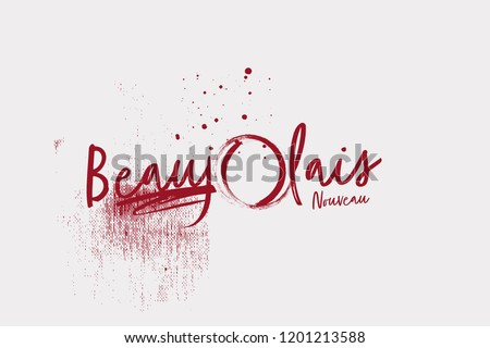 Coated Beaujolais Nouveau wine logo on the vintage background