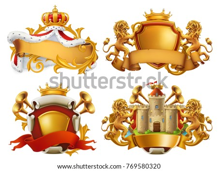 Coats of arms. King and kingdom. 3d vector emblem set