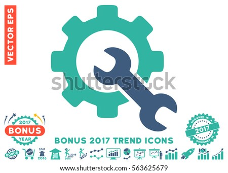 Cobalt And Cyan Service Tools icon with bonus 2017 year trend elements. Vector illustration style is flat iconic bicolor symbols, white background.