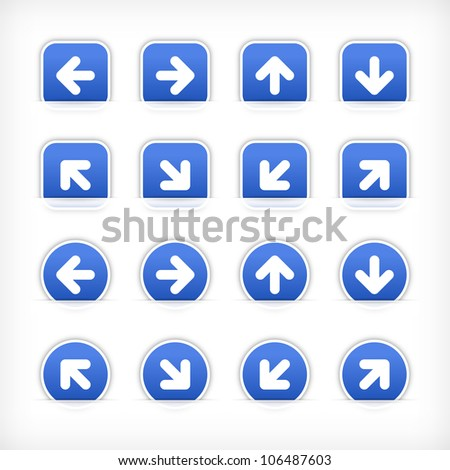 Cobalt arrow sign sticker on cut paper pocket. Web button blank satin circles and rounded square shapes with gray drop shadow on white background. This vector illustration design element 10 eps