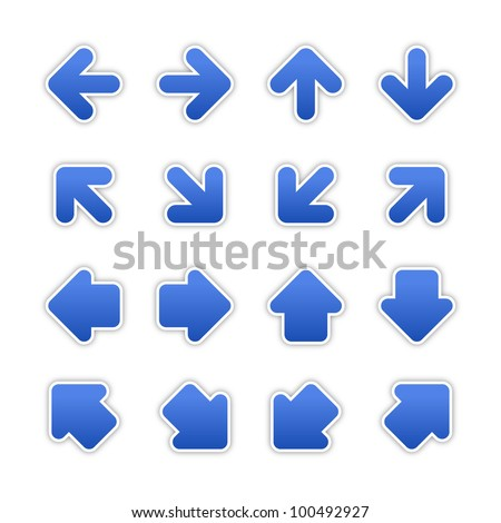 Cobalt arrow sign sticker web button. Blank satin shapes with gray drop shadow on white background. Vector illustration saved in EPS 10.