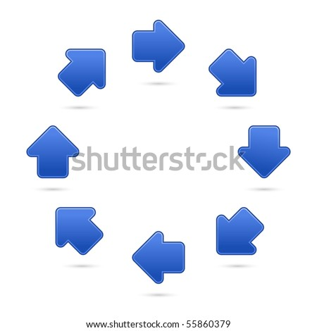 Cobalt arrow sign web 2.0 internet button. Satined colored shapes with shadow on white background