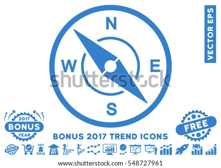 Cobalt Compass pictograph with bonus 2017 trend clip art. Vector illustration style is flat iconic symbols, white background.