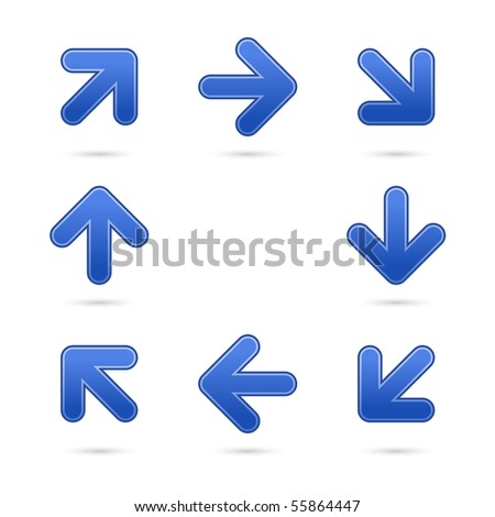 Cobalt satin arrow sign web 2.0 button. Colored shapes with shadow on white background
