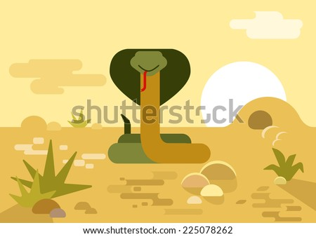 Cobra snake burrow desert flat design cartoon vector wild animals reptiles. Flat zoo nature children collection.