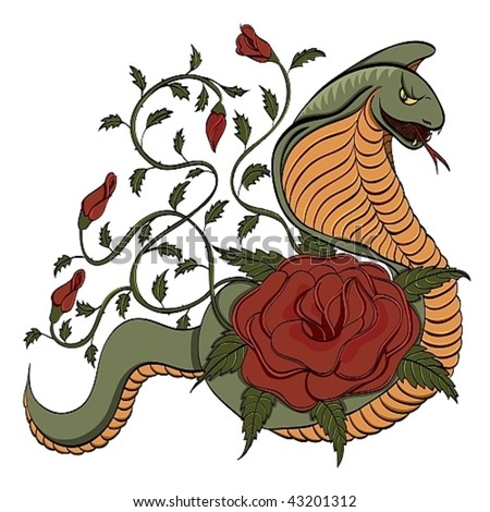 Cobra and roses tattoo