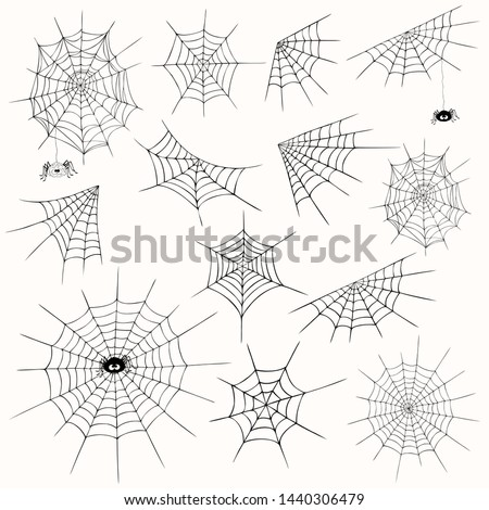 Cobweb collection, isolated  on white background. Halloween spiderweb set, cute spider. Hand drawn cobweb icons for Halloween decoration. Line art, sketch style spider web elements,spooky, scary image