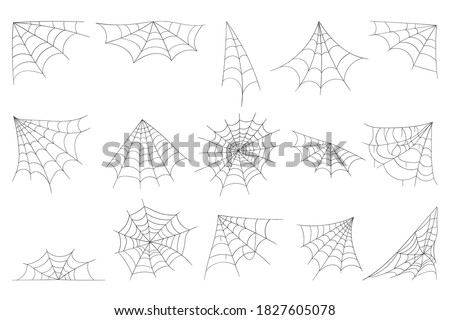 Cobweb collection isolated on white background. Line art, sketch style spider web elements, spooky, scary image. Gossamer. Spiderweb outline sign. Black and white vector illustration. Photo stock ©