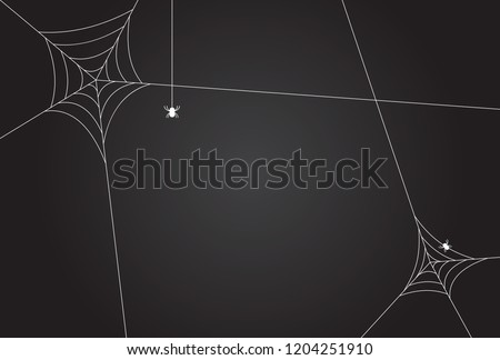 Cobweb, isolated on black, transparent background.Scary spider web vector illustration. White cobweb silhouette isolated on dark background. Spooky halloween decoration element.Gradient