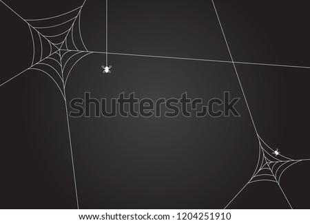 Cobweb, isolated on black, transparent background.Scary spider web vector illustration. White cobweb silhouette isolated on dark background. Spooky halloween decoration element.Gradient