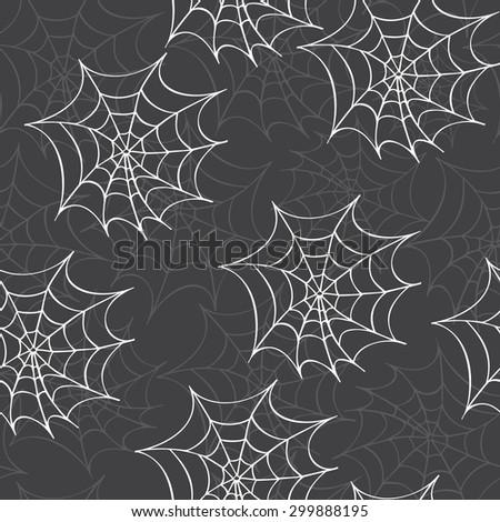 Cobweb seamless pattern. Vector halloween background.