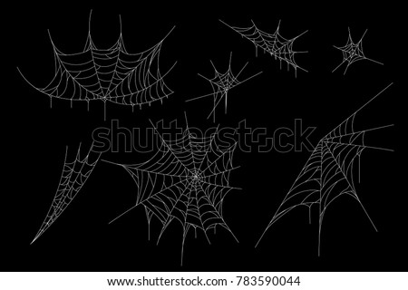 Cobweb set for Halloween design,  isolated on black background.  Vector illustration