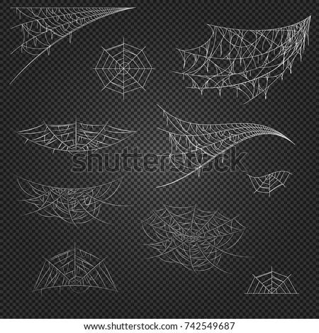 Cobweb set on transparent background. Spiderweb for Halloween design. Cobweb vector isolated