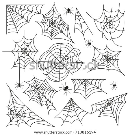 Cobweb set spider web halloween black vector insect design spiderweb horror danger trap scary silhouette arachnid illustration. Spooky fear thread animal line creepy hanging netting.