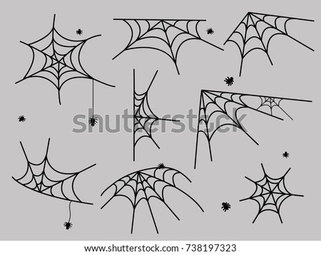 Cobweb set spider web halloween black vector insect design spiderweb horror danger trap scary silhouette arachnid illustration. vector frame border and dividers.spider web for spiderweb scary design