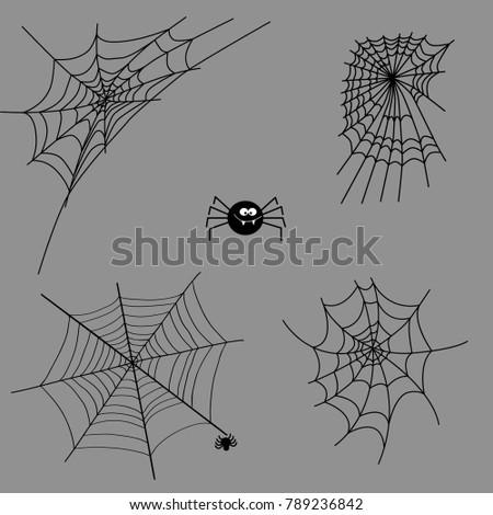 Cobweb set spider web halloween black vector insect design spiderweb horror danger trap scary silhouette arachnid illustration. vector frame border and dividers.spider web for spiderweb scary design